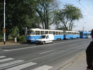 Трамвай старого образца в Загребе