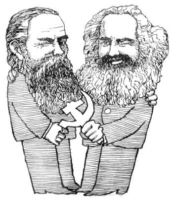 Карикатура - Карл Маркс и Фридрих Энгельс