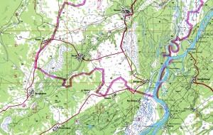 Карта с деревнями Базой, Батурино и Чилино